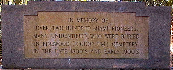 Monument in Pinewood Cemetery Coral Gables Florida