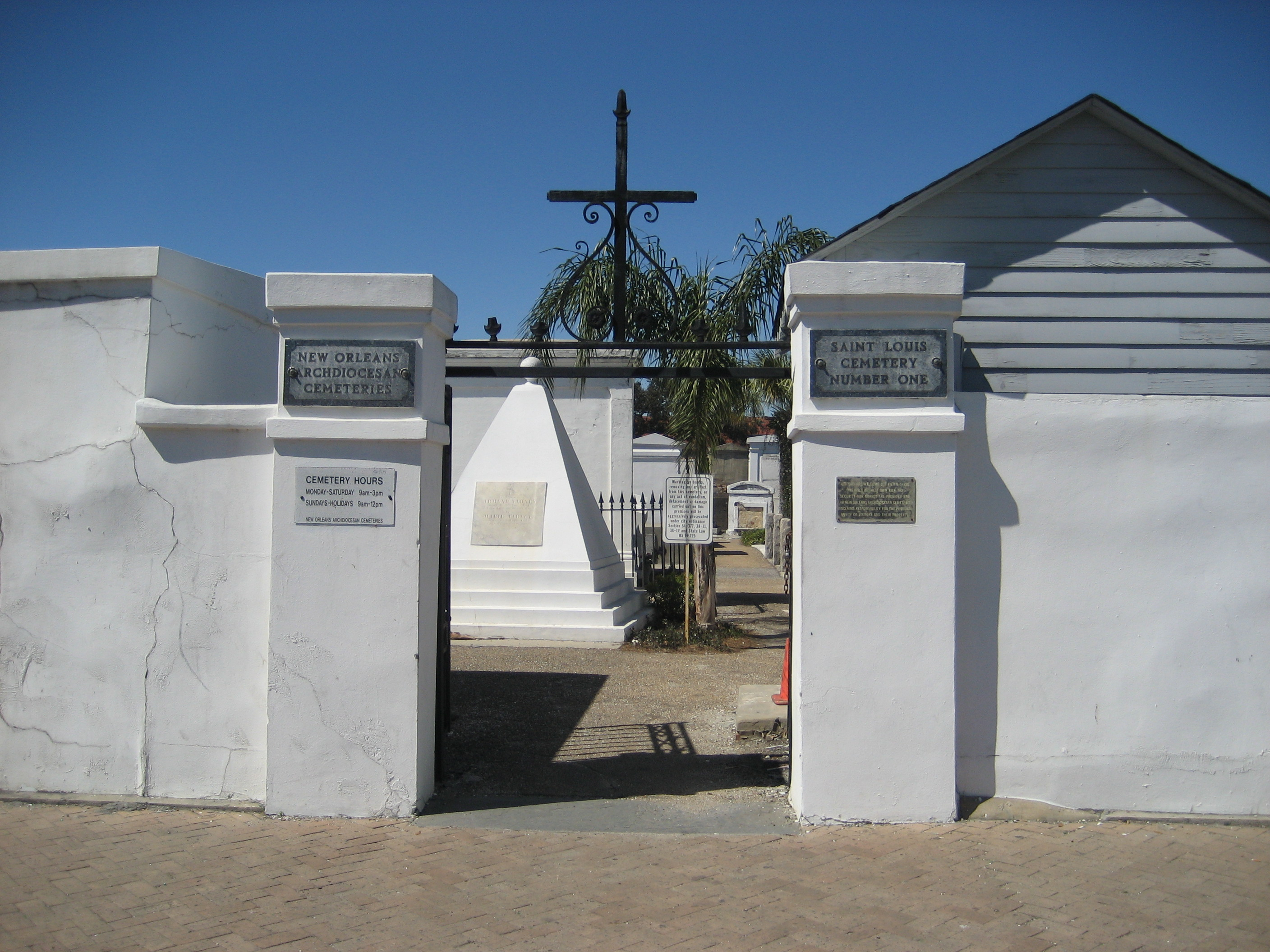 Basin Street New Orleans entrance gate to St. Louis Cemetery No. 1 ghosts haunted