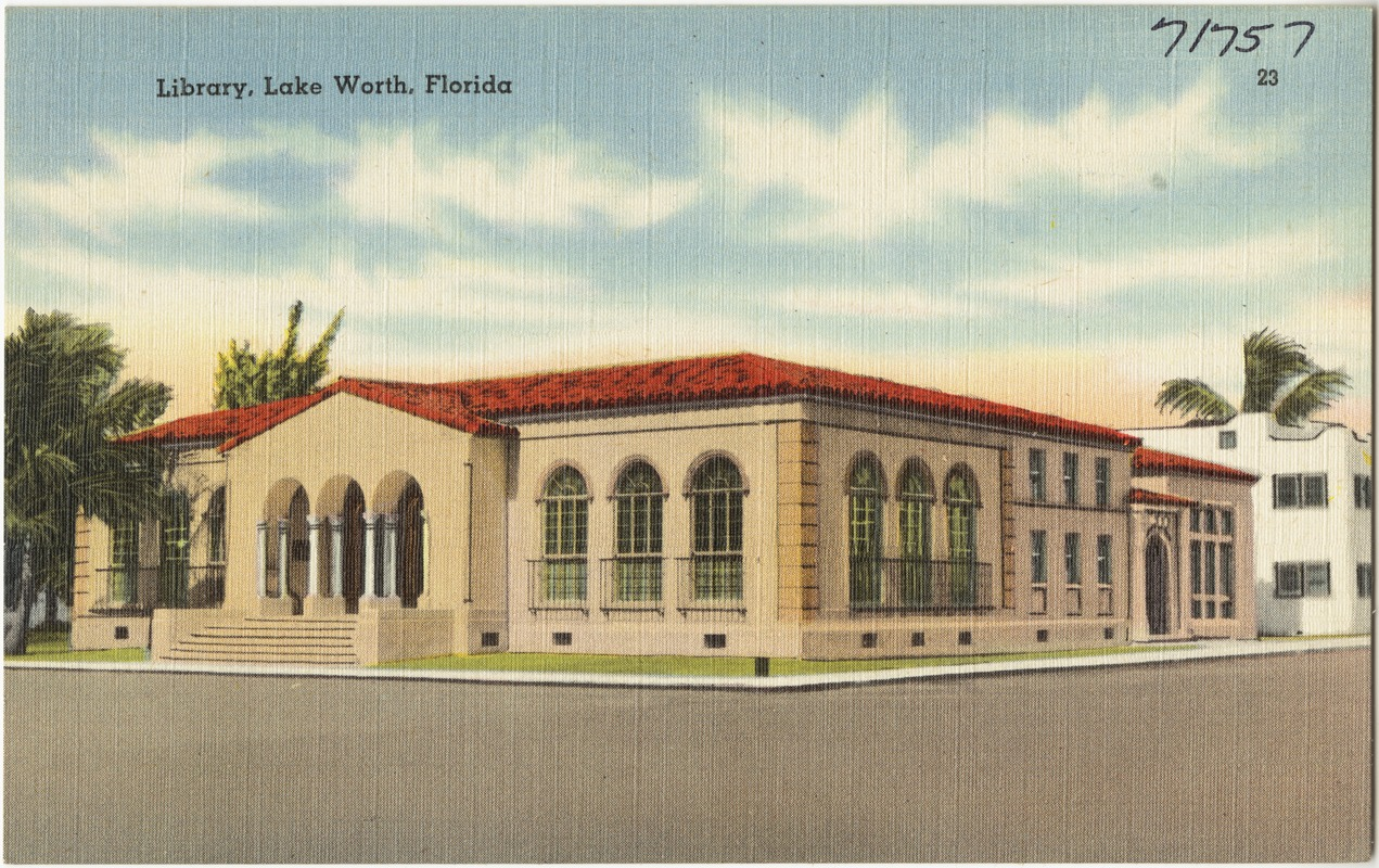 Lake Worth Public Library Florida postcard