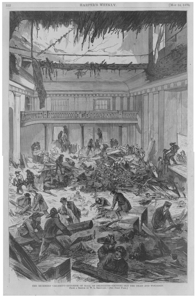 Virginia State Capitol disaster 1870 Harper's Weekly Virginia State Capitol Richmond