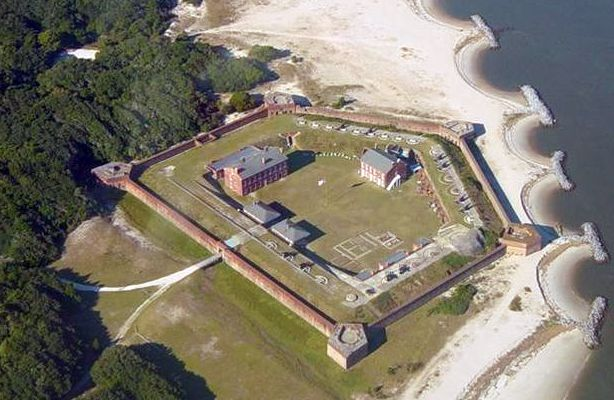 Aerial view of Fort Clinch Fernandina Beach Florida ghosts haunted