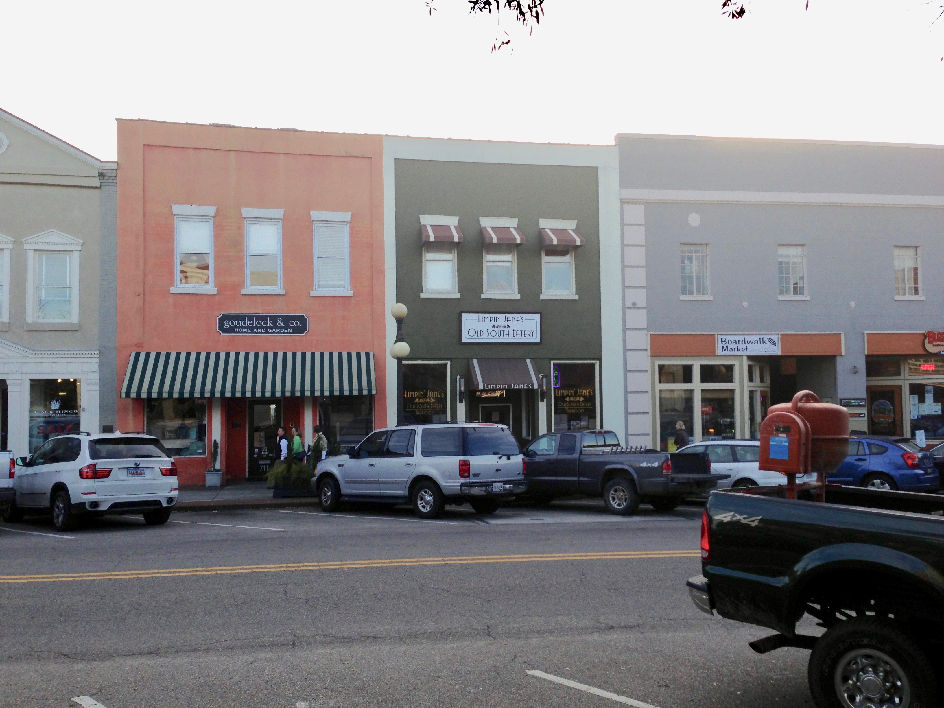 Front Street Georgetown South Carolina historic commercial buildings destroyed by fire in 2013by
