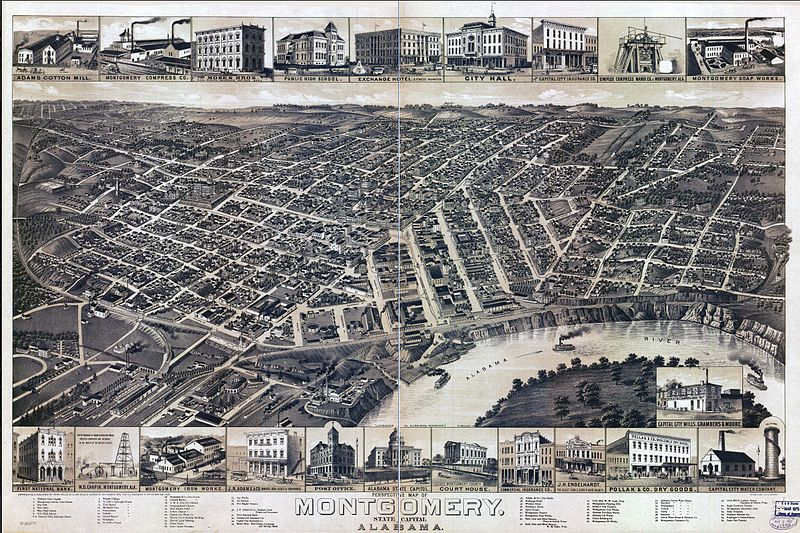 bird's eye view of Montgomery Alabama ghosts haunted Southern ghosts