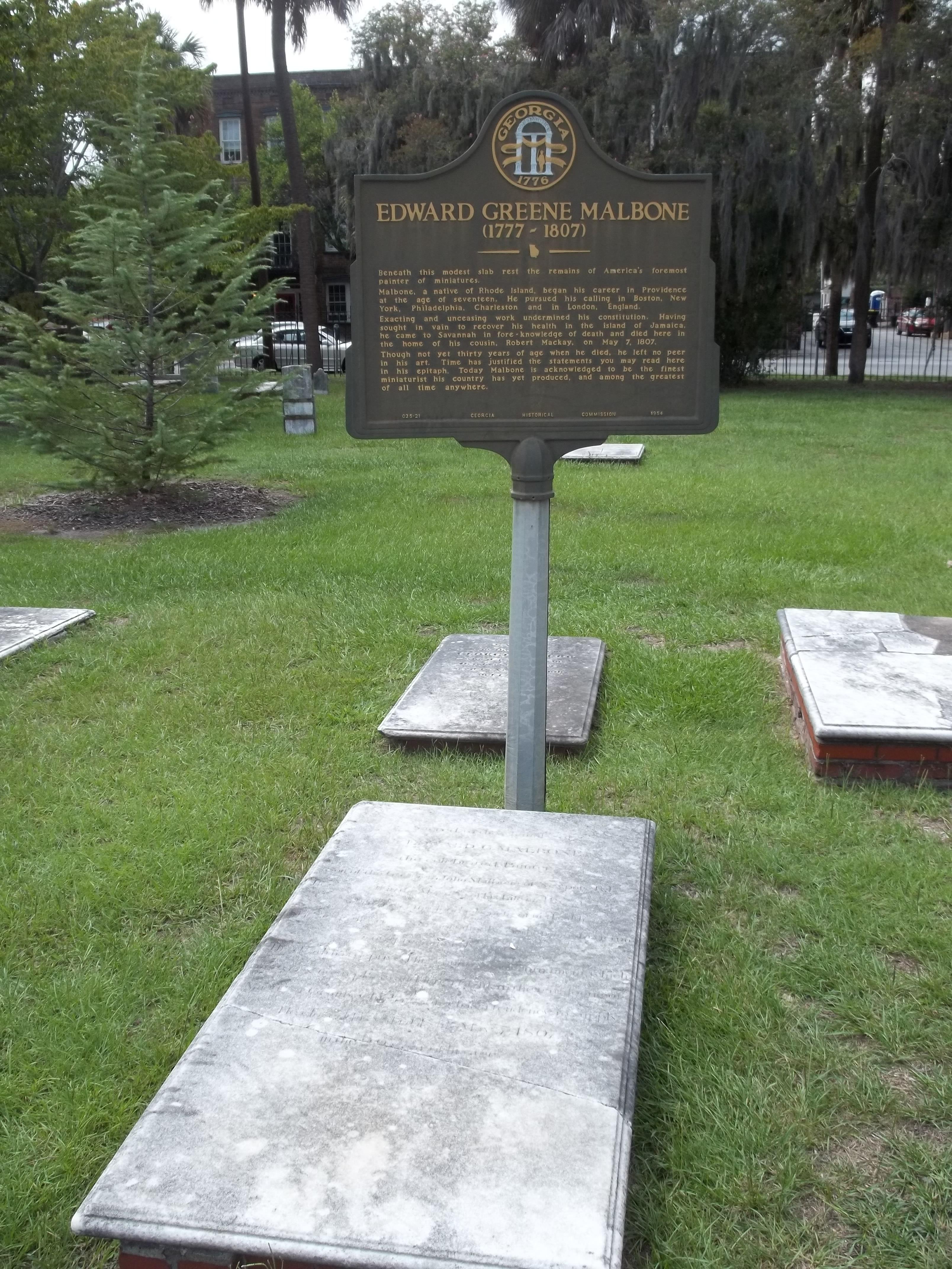 Edward Malbone marker Colonial Park Cemetery Savannah Georgia ghosts haunted