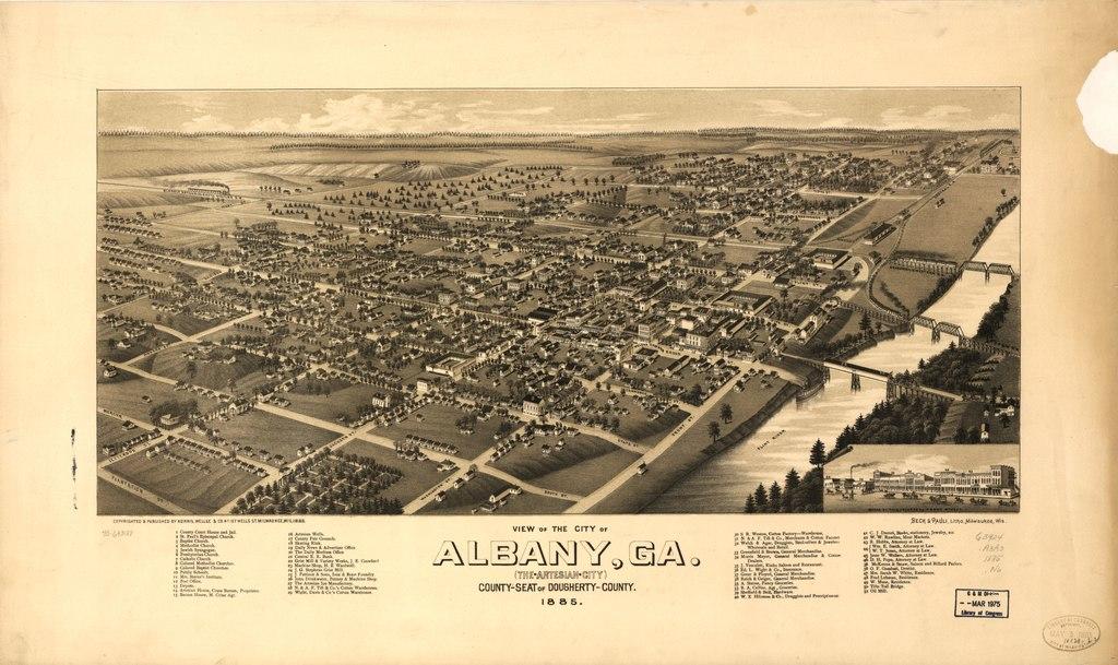 birds eye view of Albany Georgia 1885