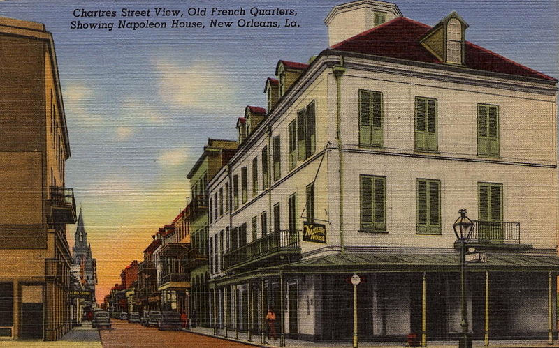 Postcard Chartres Street Napoleon House French Quarter New Orleans