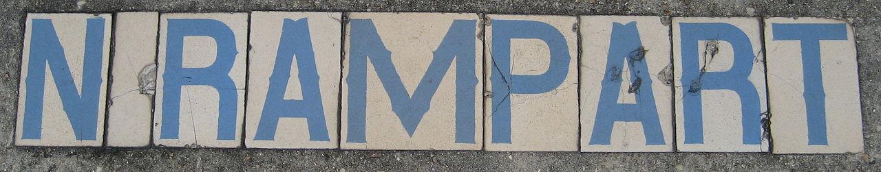 Tile North Rampart Street marker New Orleans