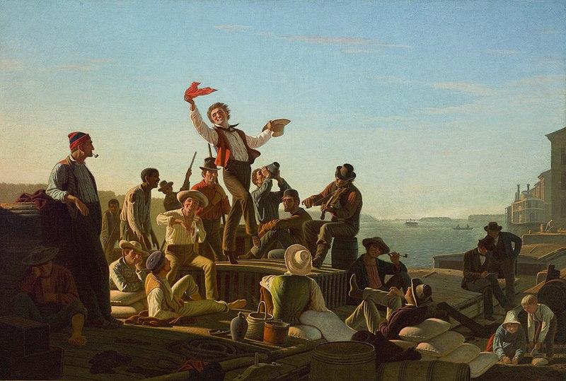 George Caleb Bingham Jolly Flatboatmen in Port 1857