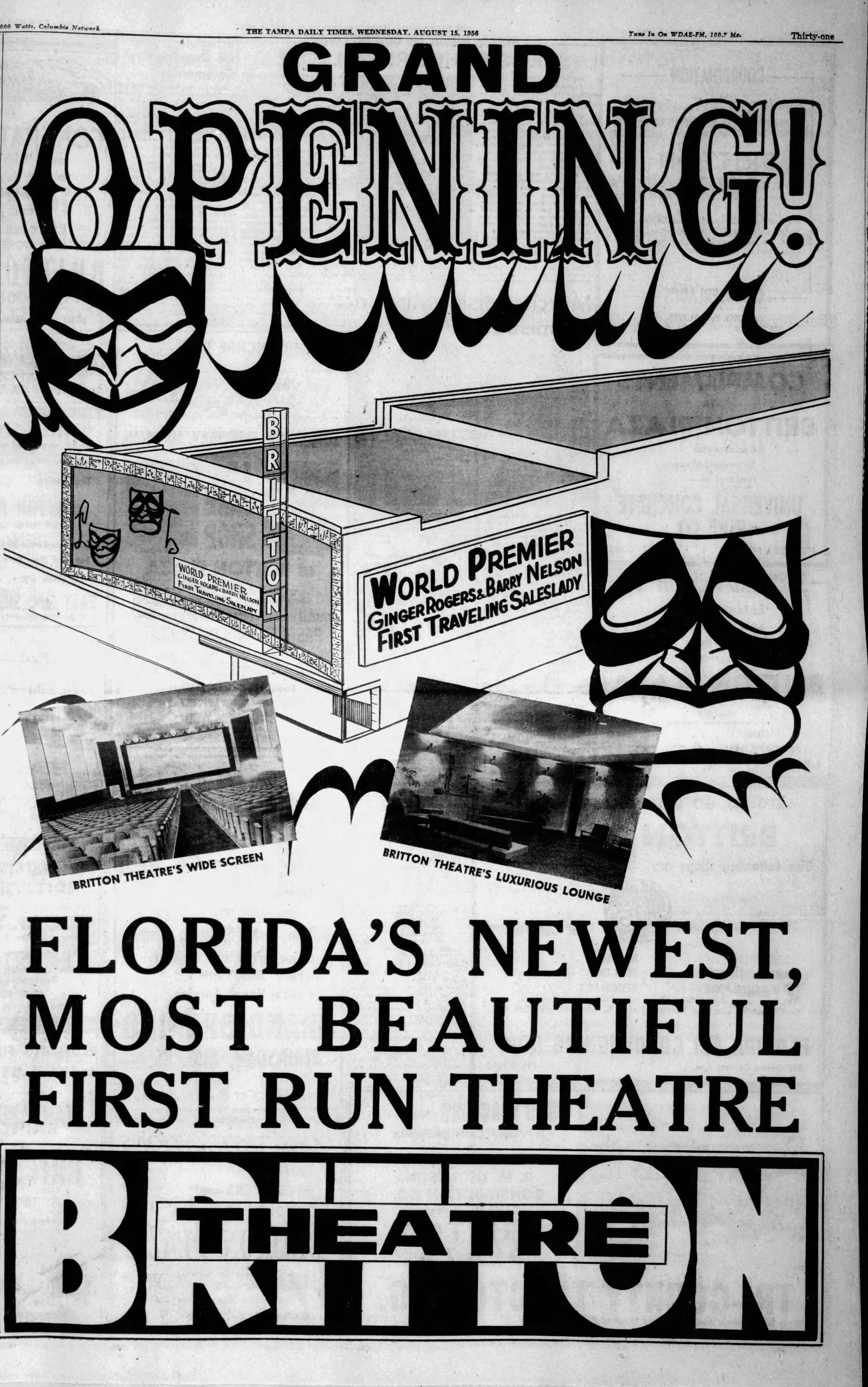 Tampa Times 1956 ad opening Britton Theater Tampa Florida
